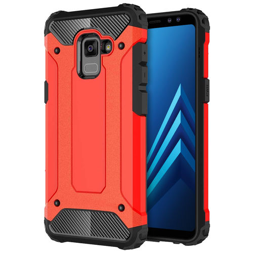 Military Defender Shockproof Case for Samsung Galaxy A8 (2018) - Red